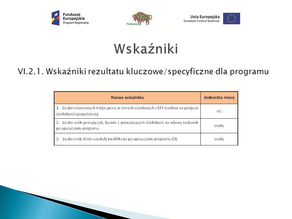 VI.2.1. Wskaźniki rezultatu kluczowe/specyficzne dla programu