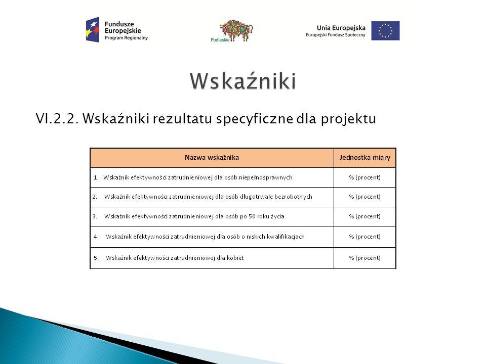 VI.2.2. Wskaźniki rezultatu specyficzne dla projektu