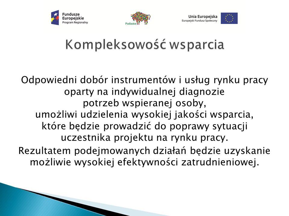 Odpowiedni dobór instrumentów i usług rynku pracy oparty na indywidualnej diagnozie potrzeb wspieranej osoby, umożliwi udzielenia wysokiej jakości wsparcia, które będzie prowadzić do poprawy sytuacji uczestnika projektu na rynku pracy.