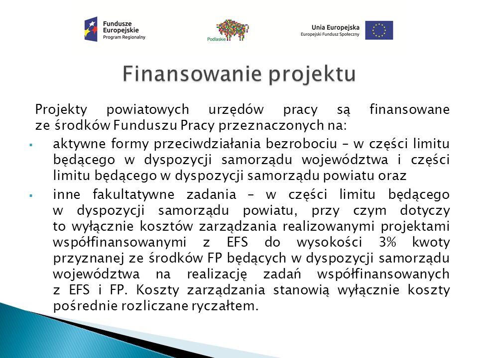 Projekty powiatowych urzędów pracy są finansowane ze środków Funduszu Pracy przeznaczonych na:  aktywne formy przeciwdziałania bezrobociu – w części limitu będącego w dyspozycji samorządu województwa i części limitu będącego w dyspozycji samorządu powiatu oraz  inne fakultatywne zadania – w części limitu będącego w dyspozycji samorządu powiatu, przy czym dotyczy to wyłącznie kosztów zarządzania realizowanymi projektami współfinansowanymi z EFS do wysokości 3% kwoty przyznanej ze środków FP będących w dyspozycji samorządu województwa na realizację zadań współfinansowanych z EFS i FP.