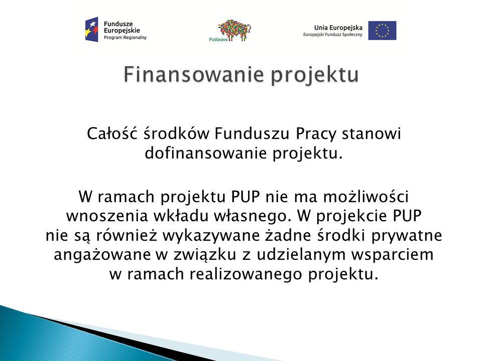 Całość środków Funduszu Pracy stanowi dofinansowanie projektu. W ramach projektu PUP nie ma możliwości wnoszenia wkładu własnego. W projekcie PUP nie