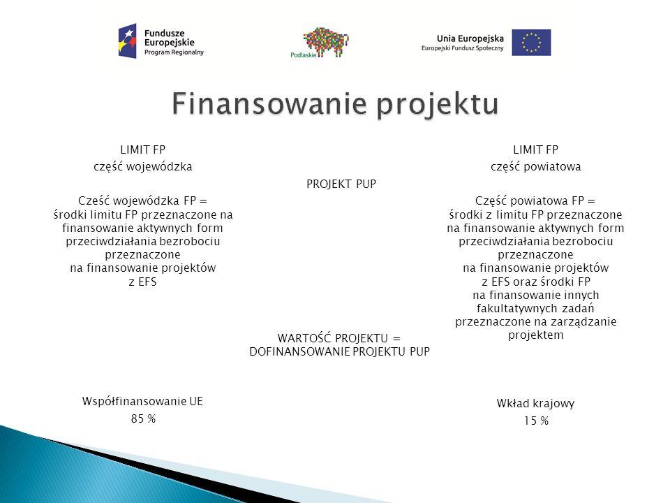 LIMIT FP część wojewódzka Cześć wojewódzka FP = środki limitu FP przeznaczone na finansowanie aktywnych form przeciwdziałania bezrobociu przeznaczone na finansowanie projektów z EFS Współfinansowanie UE 85 % PROJEKT PUP WARTOŚĆ PROJEKTU = DOFINANSOWANIE PROJEKTU PUP LIMIT FP część powiatowa Część powiatowa FP = środki z limitu FP przeznaczone na finansowanie aktywnych form przeciwdziałania bezrobociu przeznaczone na finansowanie projektów z EFS oraz środki FP na finansowanie innych fakultatywnych zadań przeznaczone na zarządzanie projektem Wkład krajowy 15 %