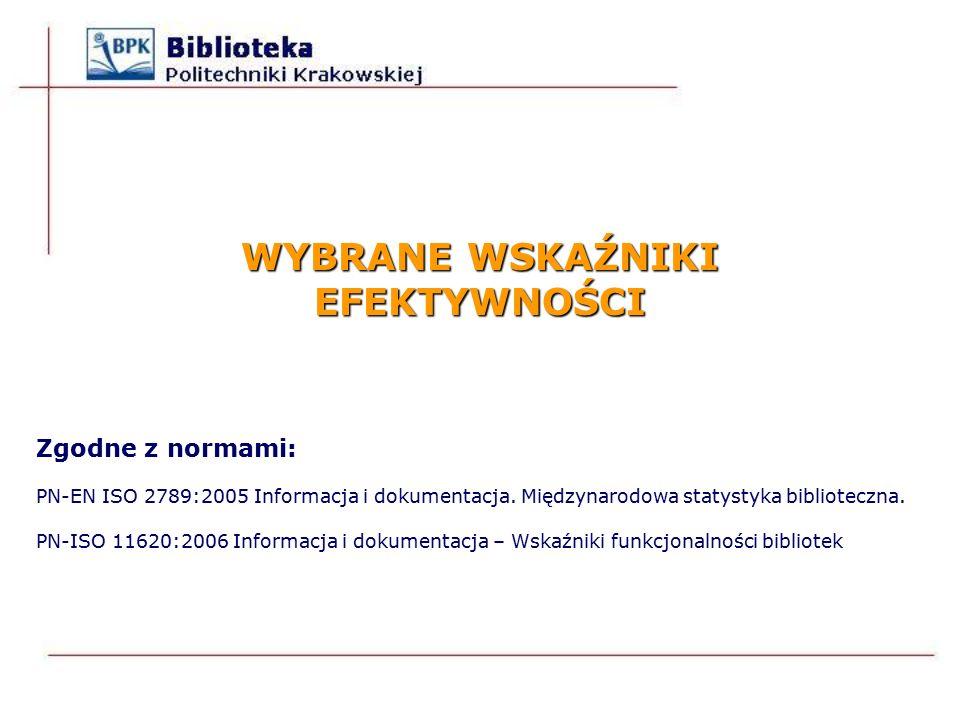 WYBRANE WSKAŹNIKI EFEKTYWNOŚCI Zgodne z normami: PN-EN ISO 2789:2005 Informacja i dokumentacja.