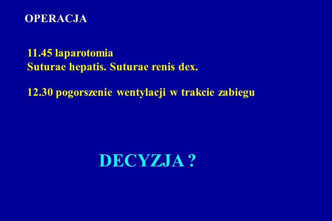 OPERACJA 11.45 laparotomia Suturae hepatis. Suturae renis dex.