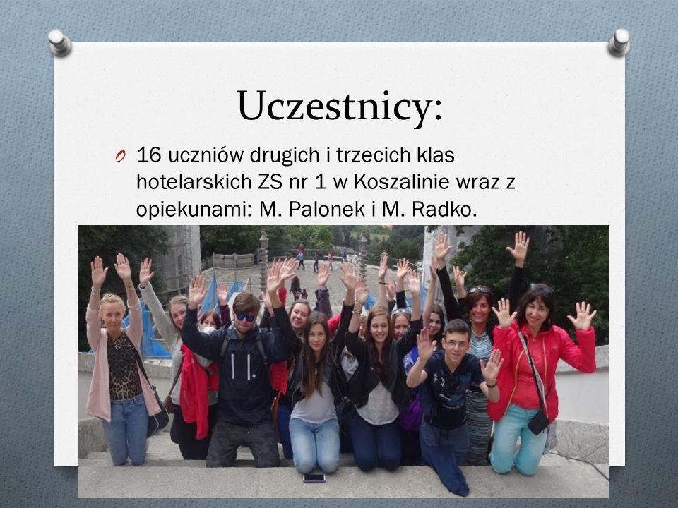 Uczestnicy: O 16 uczniów drugich i trzecich klas hotelarskich ZS nr 1 w Koszalinie wraz z opiekunami: M. Palonek i M. Radko.