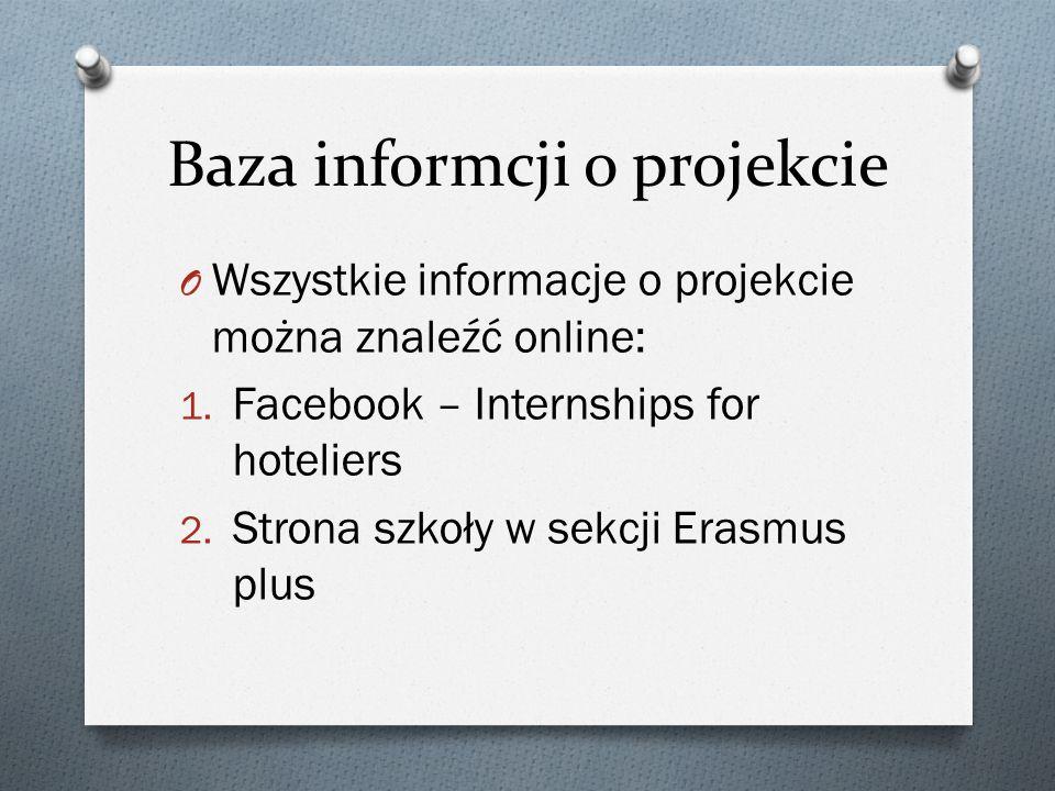Baza informcji o projekcie O Wszystkie informacje o projekcie można znaleźć online: 1. Facebook – Internships for hoteliers 2. Strona szkoły w sekcji