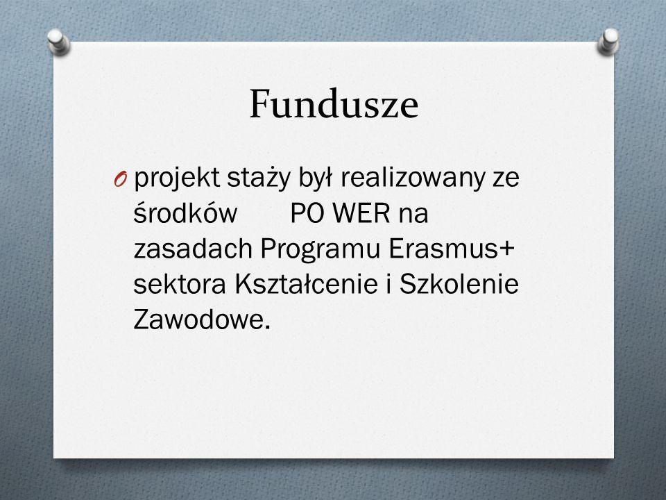Fundusze O projekt staży był realizowany ze środków PO WER na zasadach Programu Erasmus+ sektora Kształcenie i Szkolenie Zawodowe.