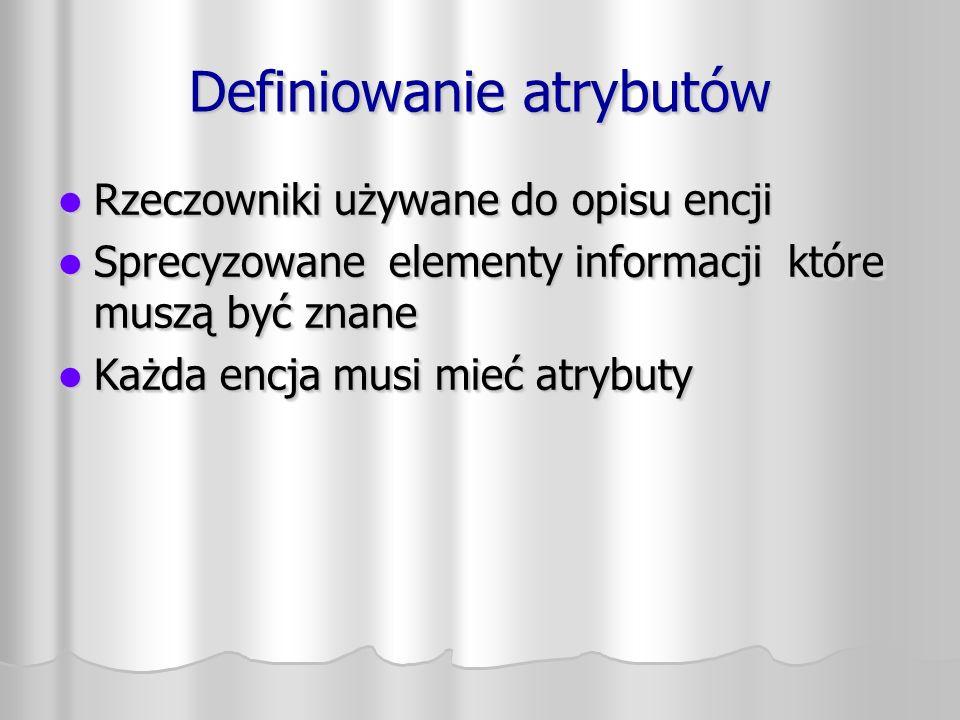 Diagram encji Zaokrąglone prostokąty Zaokrąglone prostokąty Niepowtarzalne nazwy w liczbie pojedynczej napisane dużymi literami Niepowtarzalne nazwy w liczbie pojedynczej napisane dużymi literami Opcjonalnie – synonimy (w nawiasach) Opcjonalnie – synonimy (w nawiasach) Nazwy atrybutów – małymi literami Nazwy atrybutów – małymi literami Zaokrąglone prostokąty Zaokrąglone prostokąty Niepowtarzalne nazwy w liczbie pojedynczej napisane dużymi literami Niepowtarzalne nazwy w liczbie pojedynczej napisane dużymi literami Opcjonalnie – synonimy (w nawiasach) Opcjonalnie – synonimy (w nawiasach) Nazwy atrybutów – małymi literami Nazwy atrybutów – małymi literami COMPANY (CLIENT) DEPARTMENT MEMBERSHIP