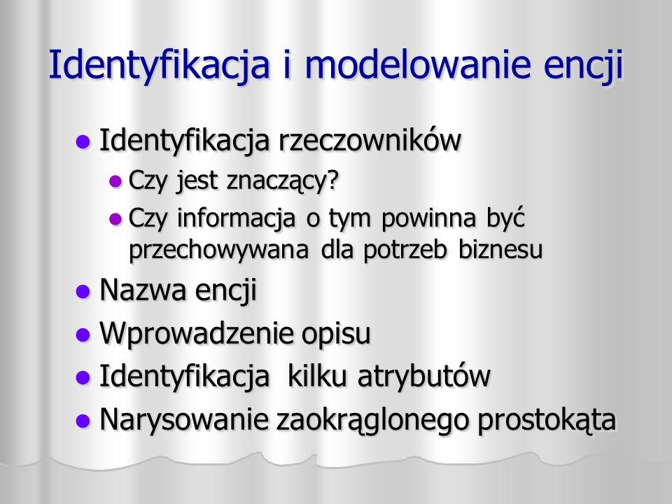 Identyfikacja i modelowanie encji Identyfikacja rzeczowników Identyfikacja rzeczowników Czy jest znaczący.