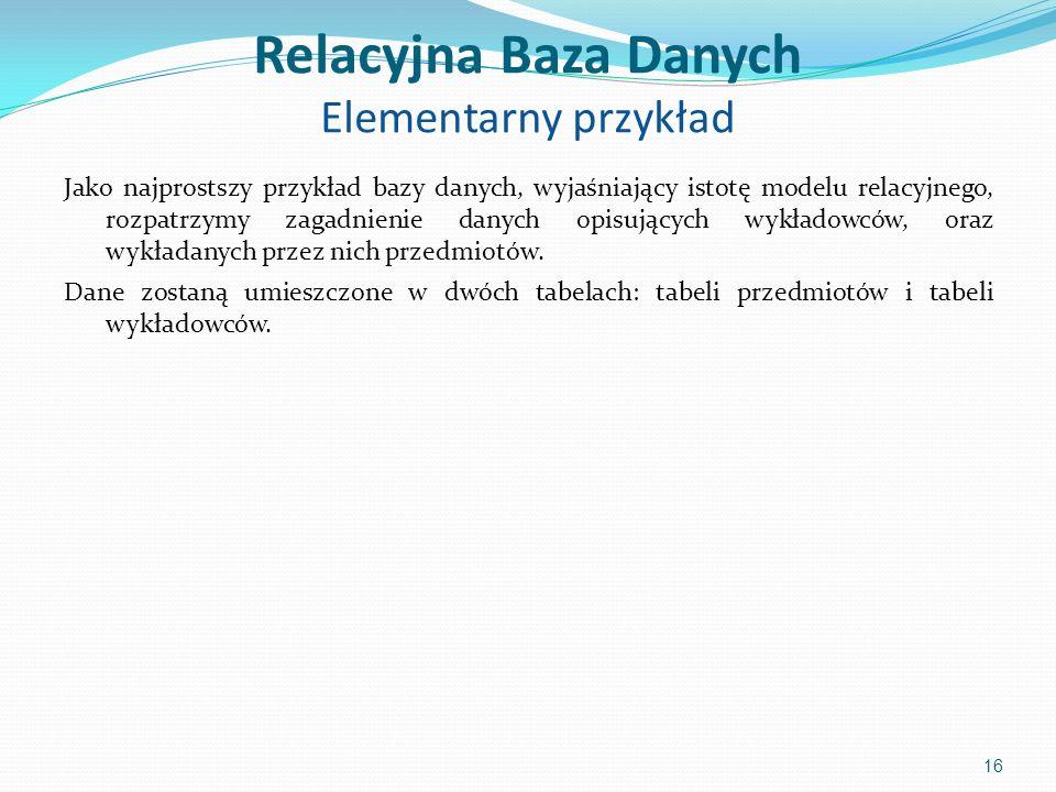 Relacyjna Baza Danych Elementarny przykład Jako najprostszy przykład bazy danych, wyjaśniający istotę modelu relacyjnego, rozpatrzymy zagadnienie danych opisujących wykładowców, oraz wykładanych przez nich przedmiotów.