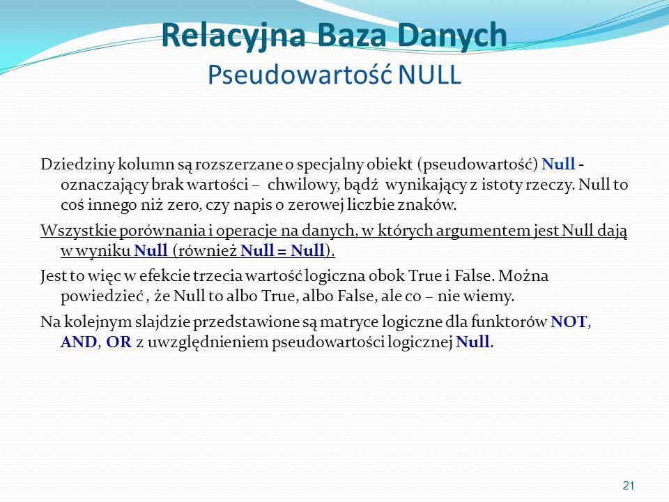 Relacyjna Baza Danych Pseudowartość NULL Dziedziny kolumn są rozszerzane o specjalny obiekt (pseudowartość) Null - oznaczający brak wartości – chwilowy, bądź wynikający z istoty rzeczy.