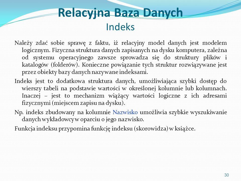 Relacyjna Baza Danych Indeks Należy zdać sobie sprawę z faktu, iż relacyjny model danych jest modelem logicznym.