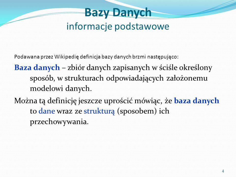 Bazy Danych informacje podstawowe Podawana przez Wikipedię definicja bazy danych brzmi następująco: Baza danych – zbiór danych zapisanych w ściśle określony sposób, w strukturach odpowiadających założonemu modelowi danych.