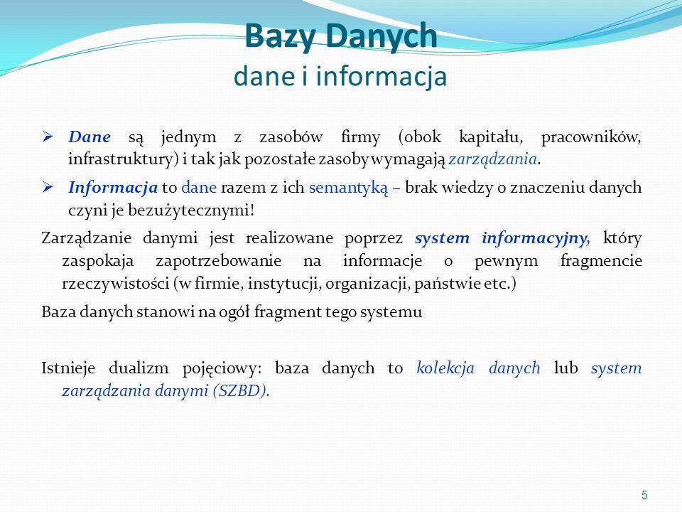 Bazy Danych dane i informacja  Dane są jednym z zasobów firmy (obok kapitału, pracowników, infrastruktury) i tak jak pozostałe zasoby wymagają zarządzania.