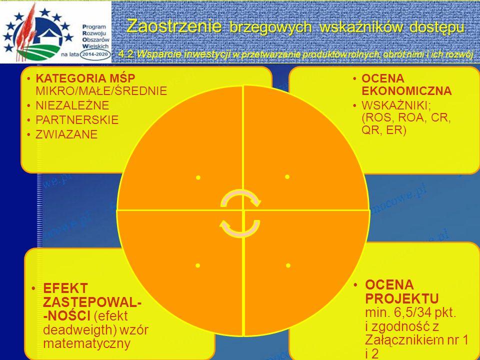 Zaostrzenie brzegowych wskaźników dostępu 4.2 Zaostrzenie brzegowych wskaźników dostępu 4.2 Wsparcie inwestycji w przetwarzanie produktów rolnych, obrót nimi i ich rozwój OCENA PROJEKTU min.