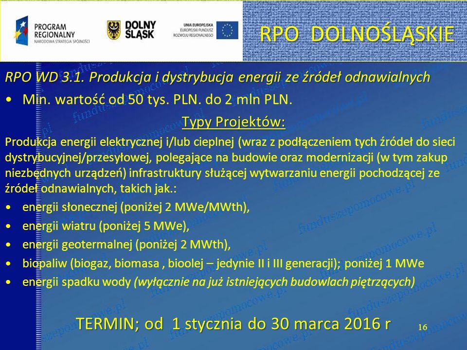 RPO DOLNOŚLĄSKIE RPO WD 3.1. Produkcja i dystrybucja energii ze źródeł odnawialnych Min.