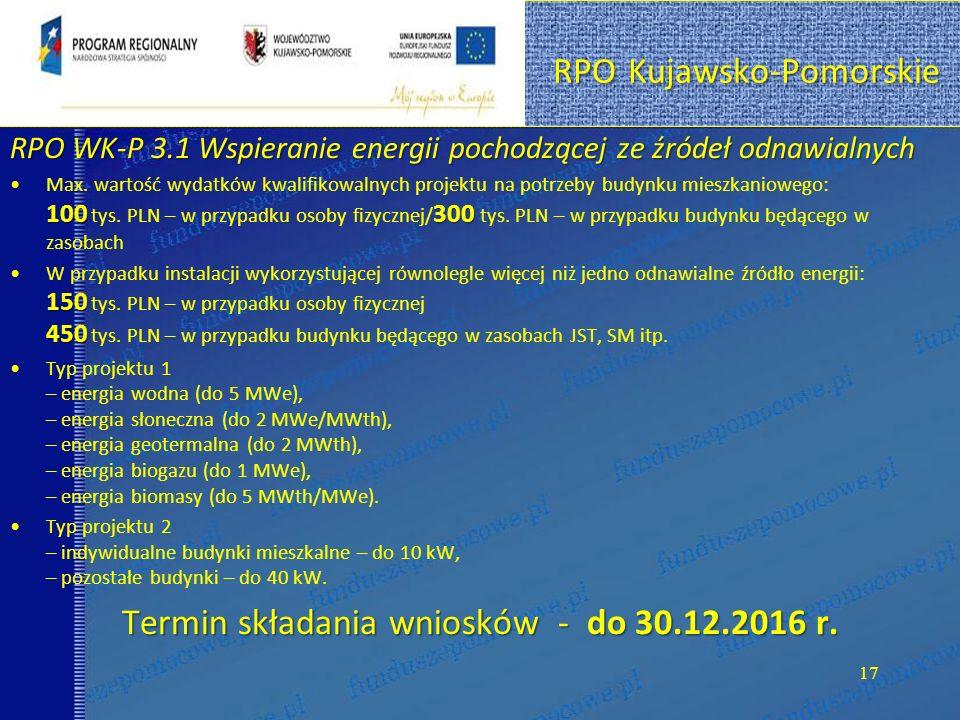 RPO Kujawsko-Pomorskie RPO Kujawsko-Pomorskie RPO WK-P 3.1 Wspieranie energii pochodzącej ze źródeł odnawialnych 100300Max.