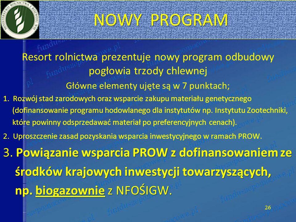NOWY PROGRAM NOWY PROGRAM Resort rolnictwa prezentuje nowy program odbudowy pogłowia trzody chlewnej Główne elementy ujęte są w 7 punktach; 1.