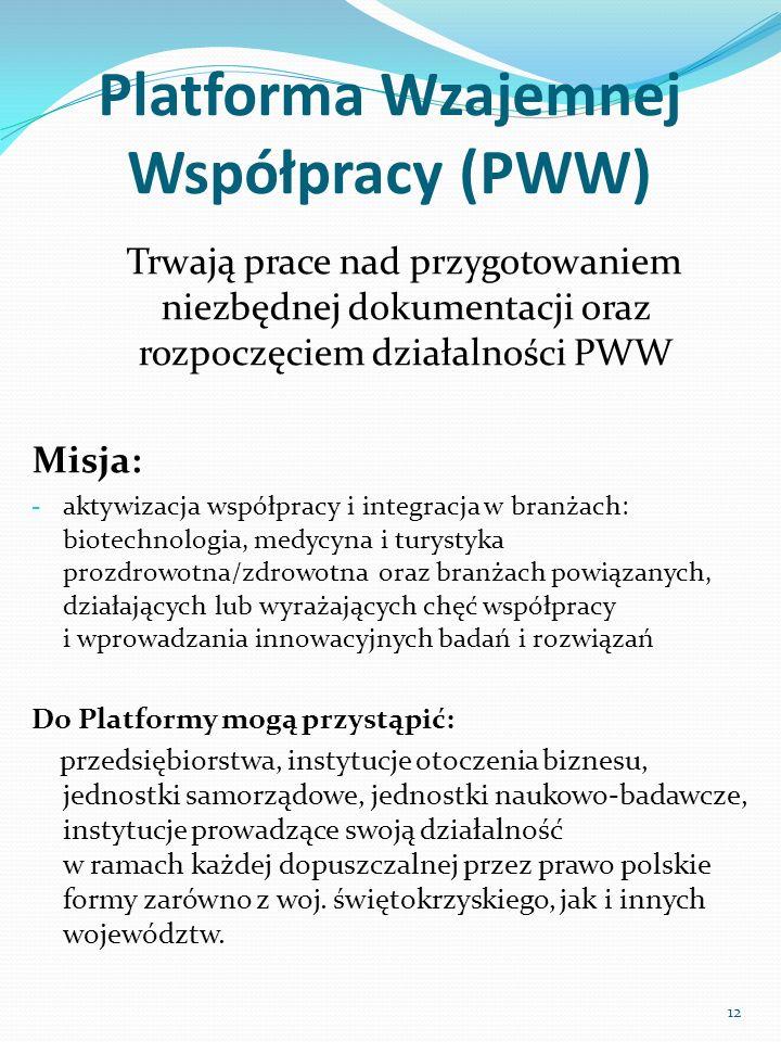 Platforma Wzajemnej Współpracy (PWW) Trwają prace nad przygotowaniem niezbędnej dokumentacji oraz rozpoczęciem działalności PWW Misja: - aktywizacja w