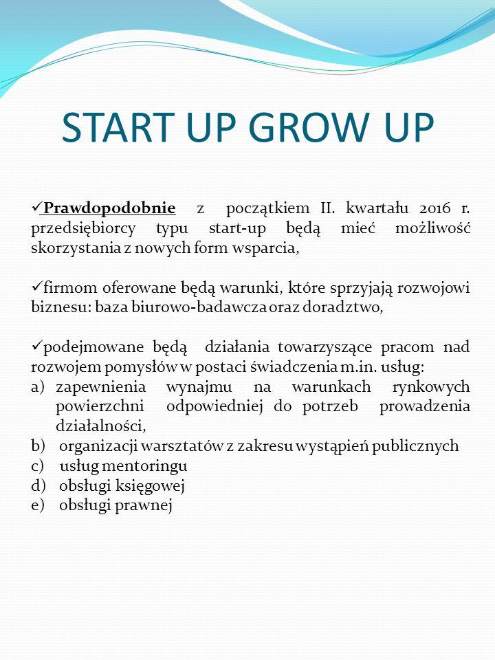 START UP GROW UP Prawdopodobnie z początkiem II. kwartału 2016 r. przedsiębiorcy typu start-up będą mieć możliwość skorzystania z nowych form wsparcia