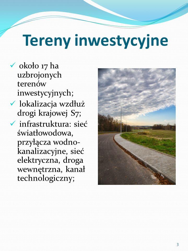 Tereny inwestycyjne około 17 ha uzbrojonych terenów inwestycyjnych; lokalizacja wzdłuż drogi krajowej S7; infrastruktura: sieć światłowodowa, przyłącza wodno- kanalizacyjne, sieć elektryczna, droga wewnętrzna, kanał technologiczny; 3