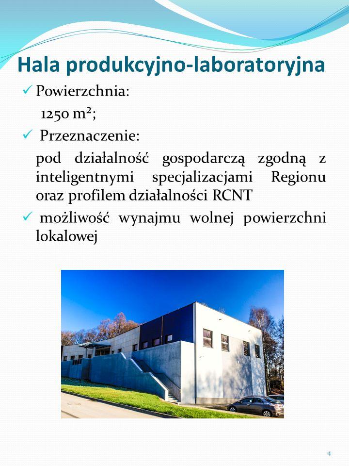 Hala produkcyjno-laboratoryjna Powierzchnia: 1250 m²; Przeznaczenie: pod działalność gospodarczą zgodną z inteligentnymi specjalizacjami Regionu oraz profilem działalności RCNT możliwość wynajmu wolnej powierzchni lokalowej 4