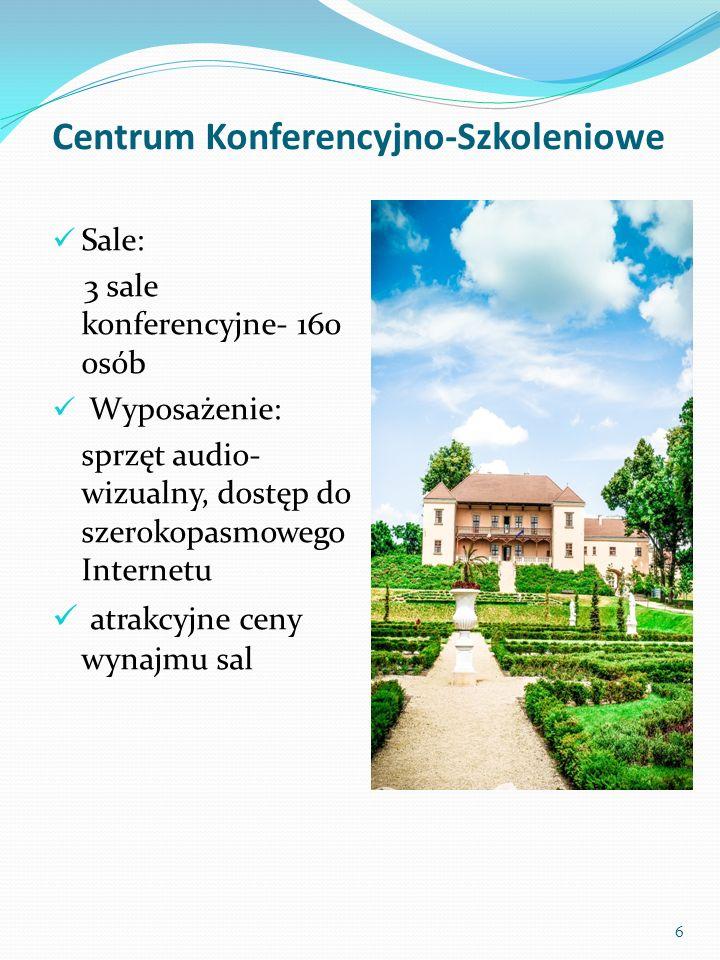 Centrum Konferencyjno-Szkoleniowe Sale: 3 sale konferencyjne- 160 osób Wyposażenie: sprzęt audio- wizualny, dostęp do szerokopasmowego Internetu atrak