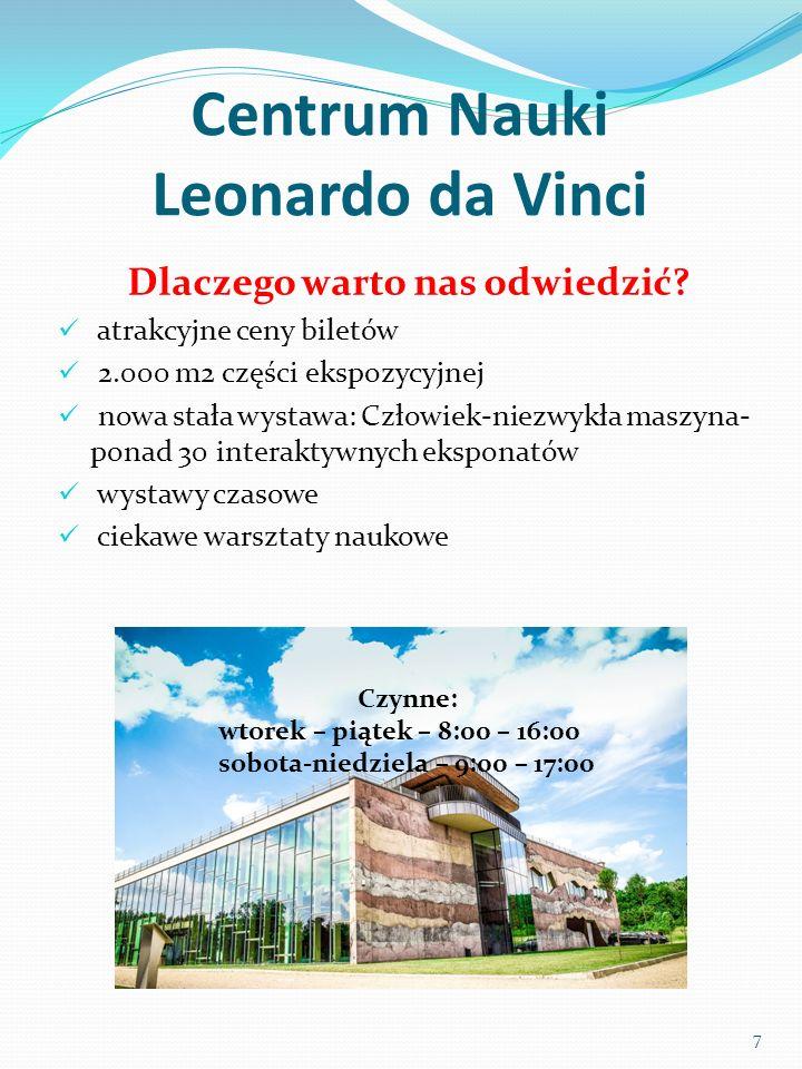 Centrum Nauki Leonardo da Vinci Dlaczego warto nas odwiedzić? atrakcyjne ceny biletów 2.000 m2 części ekspozycyjnej nowa stała wystawa: Człowiek-niezw