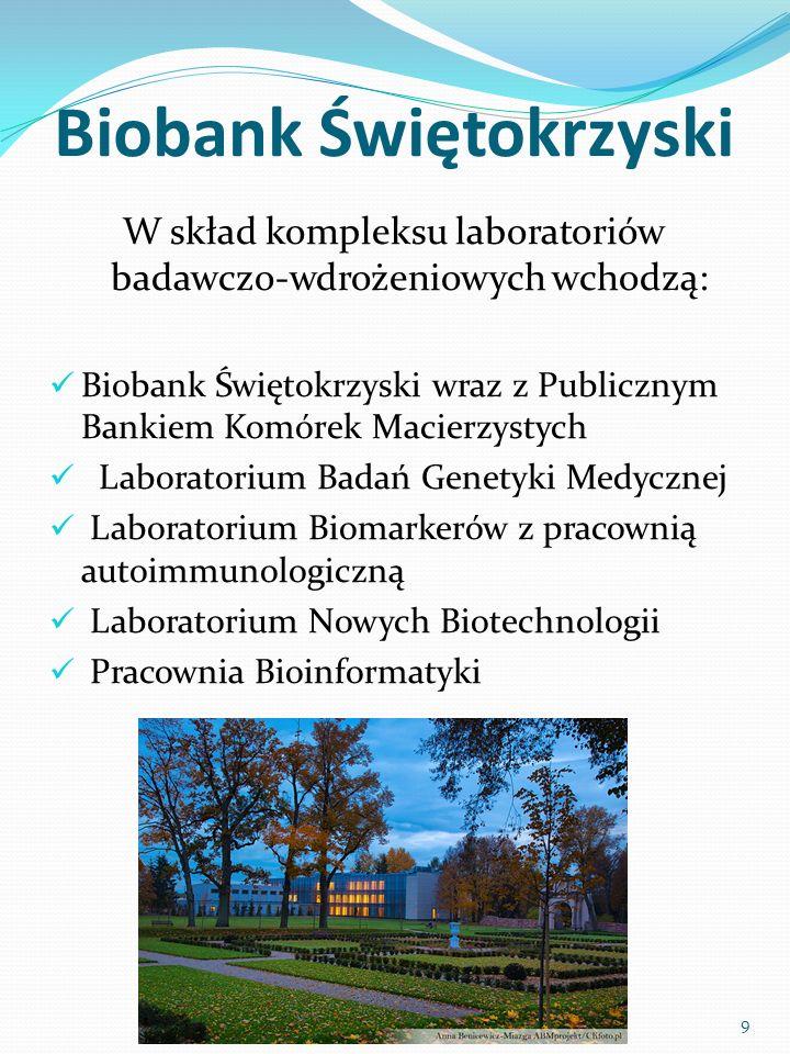 Biobank Świętokrzyski W skład kompleksu laboratoriów badawczo-wdrożeniowych wchodzą: Biobank Świętokrzyski wraz z Publicznym Bankiem Komórek Macierzystych Laboratorium Badań Genetyki Medycznej Laboratorium Biomarkerów z pracownią autoimmunologiczną Laboratorium Nowych Biotechnologii Pracownia Bioinformatyki 9