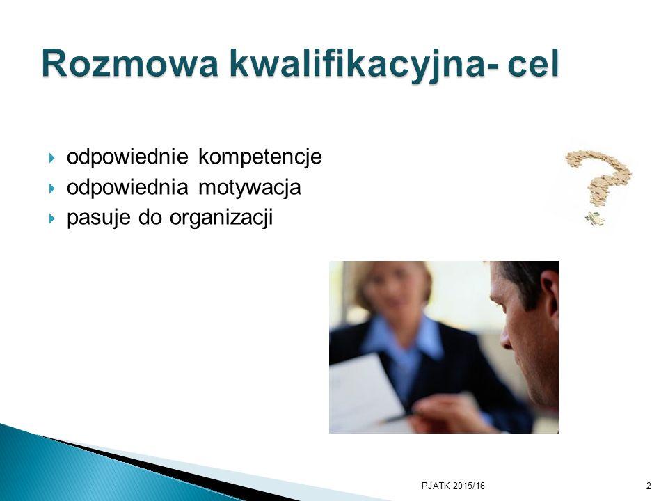  odpowiednie kompetencje  odpowiednia motywacja  pasuje do organizacji PJATK 2015/162