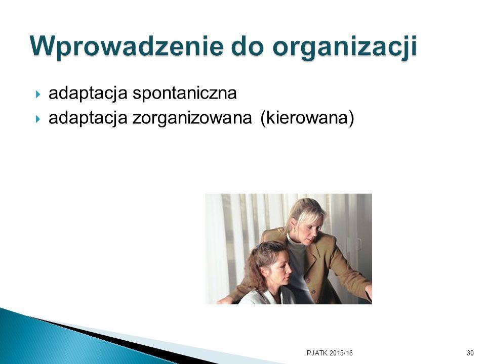 adaptacja spontaniczna  adaptacja zorganizowana (kierowana) PJATK 2015/1630