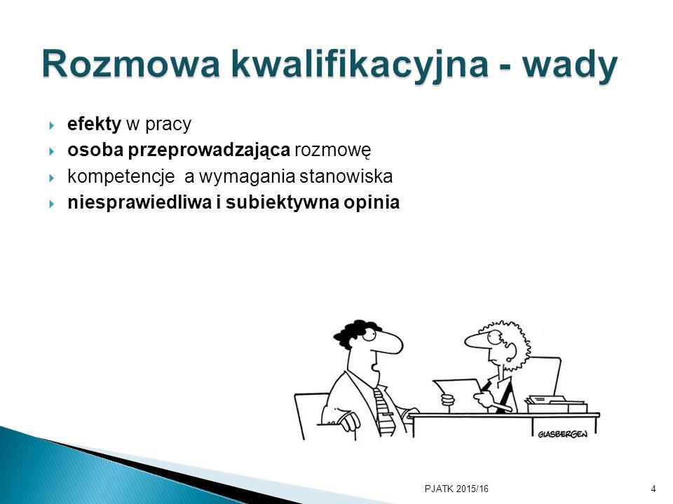  efekty w pracy  osoba przeprowadzająca rozmowę  kompetencje a wymagania stanowiska  niesprawiedliwa i subiektywna opinia PJATK 2015/164