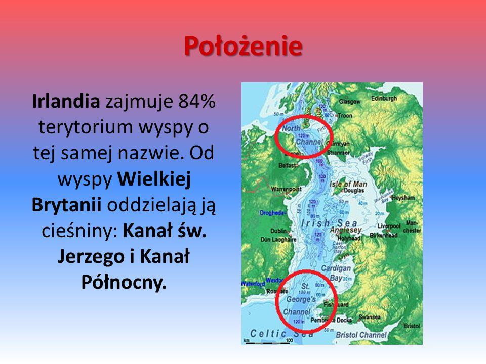 Położenie Irlandia zajmuje 84% terytorium wyspy o tej samej nazwie. Od wyspy Wielkiej Brytanii oddzielają ją cieśniny: Kanał św. Jerzego i Kanał Półno