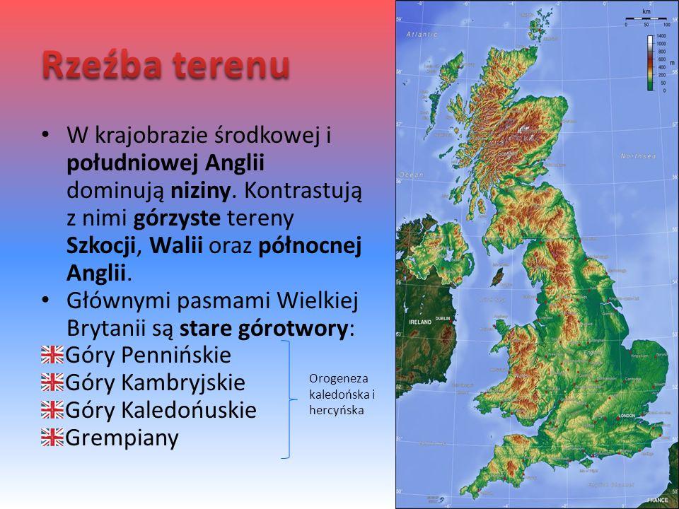 W krajobrazie środkowej i południowej Anglii dominują niziny. Kontrastują z nimi górzyste tereny Szkocji, Walii oraz północnej Anglii. Głównymi pasmam