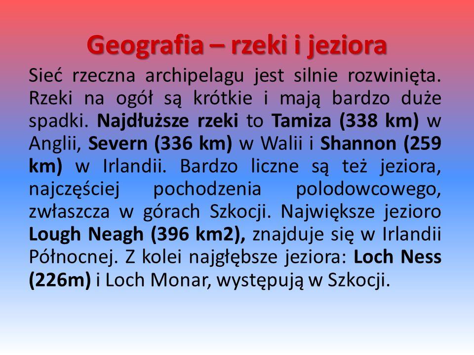 Geografia – rzeki i jeziora Sieć rzeczna archipelagu jest silnie rozwinięta. Rzeki na ogół są krótkie i mają bardzo duże spadki. Najdłuższe rzeki to T