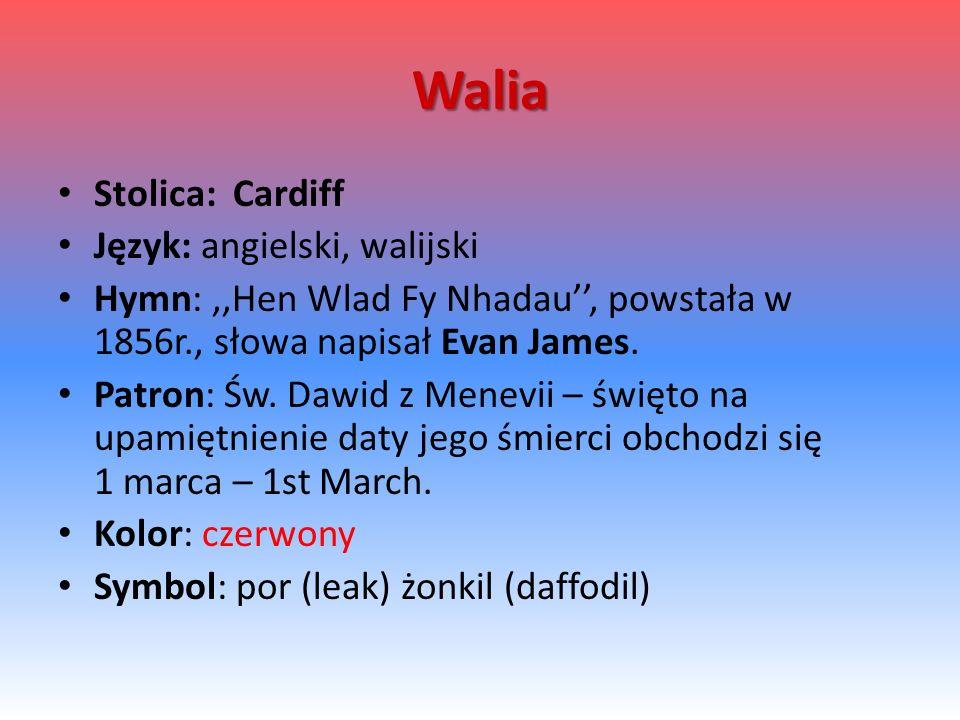 Walia Stolica: Cardiff Język: angielski, walijski Hymn:,,Hen Wlad Fy Nhadau'', powstała w 1856r., słowa napisał Evan James. Patron: Św. Dawid z Menevi