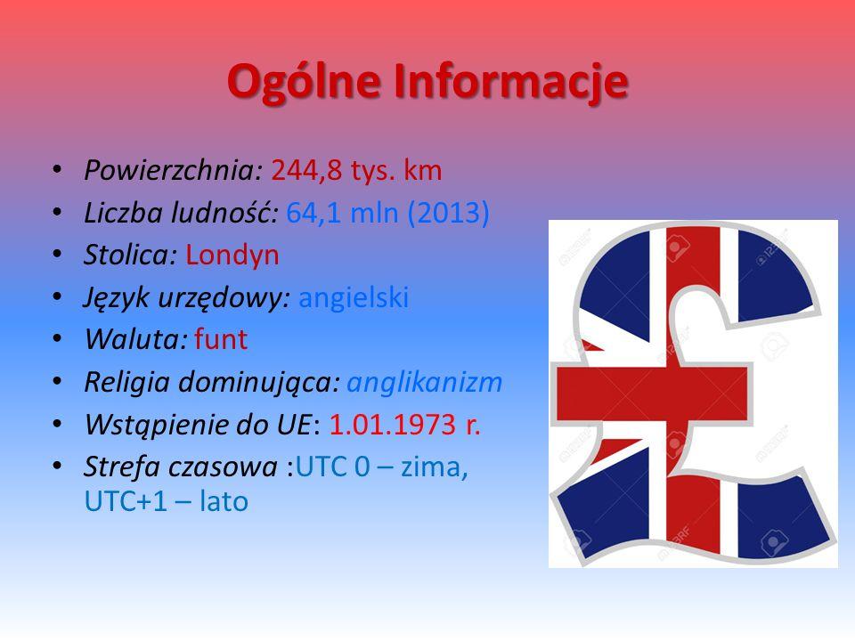 Ogólne Informacje Powierzchnia: 244,8 tys. km Liczba ludność: 64,1 mln (2013) Stolica: Londyn Język urzędowy: angielski Waluta: funt Religia dominując