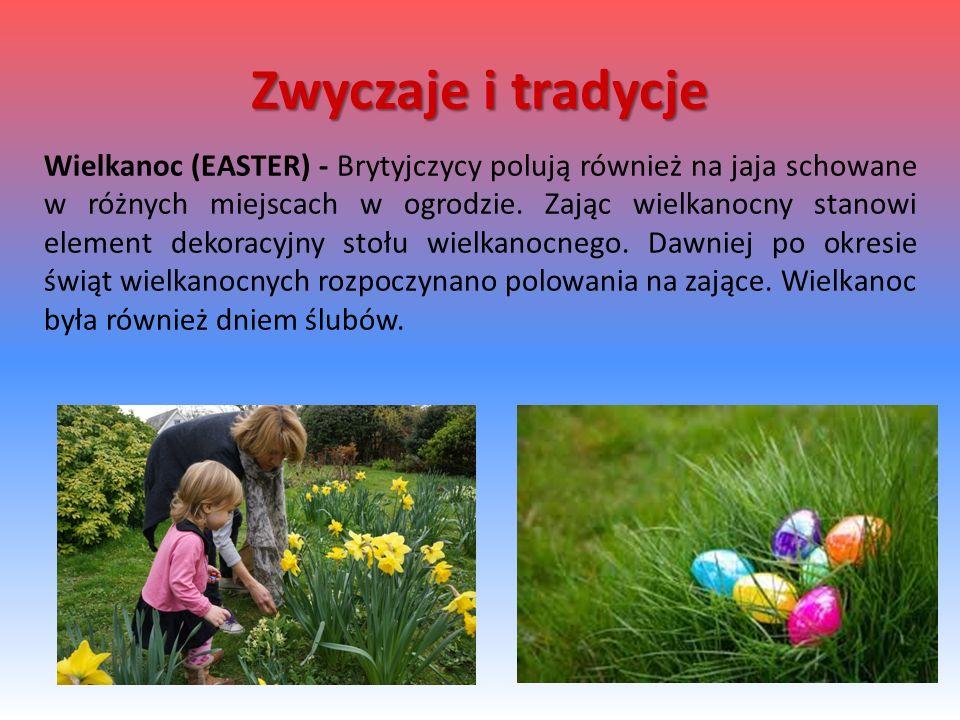 Wielkanoc (EASTER) - Brytyjczycy polują również na jaja schowane w różnych miejscach w ogrodzie. Zając wielkanocny stanowi element dekoracyjny stołu w