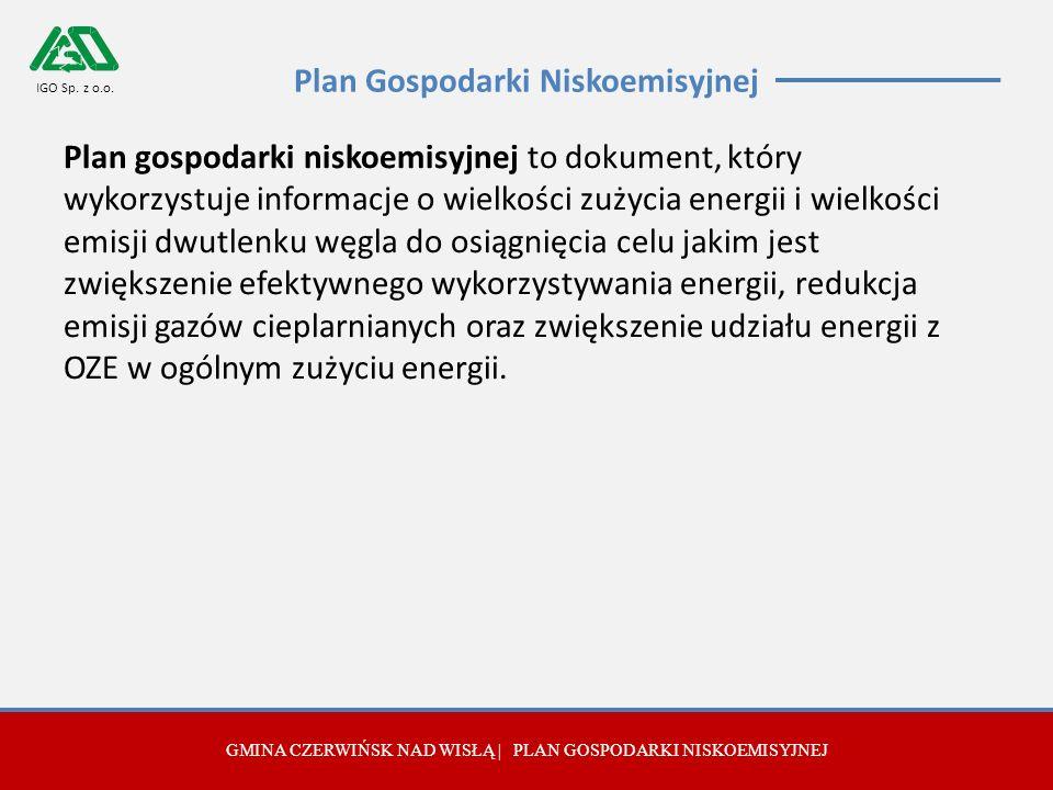 Plan Gospodarki Niskoemisyjnej Plan gospodarki niskoemisyjnej to dokument, który wykorzystuje informacje o wielkości zużycia energii i wielkości emisji dwutlenku węgla do osiągnięcia celu jakim jest zwiększenie efektywnego wykorzystywania energii, redukcja emisji gazów cieplarnianych oraz zwiększenie udziału energii z OZE w ogólnym zużyciu energii.