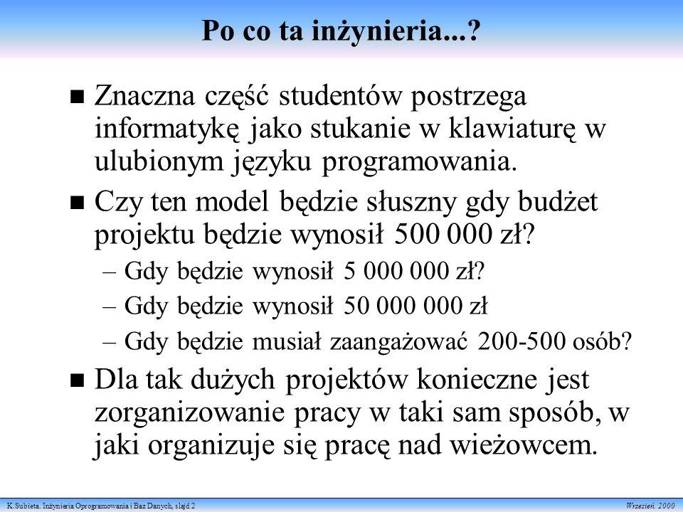 K.Subieta. Inżynieria Oprogramowania i Baz Danych, slajd 2 Wrzesień.