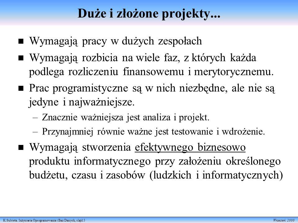 K.Subieta.Inżynieria Oprogramowania i Baz Danych, slajd 3 Wrzesień.