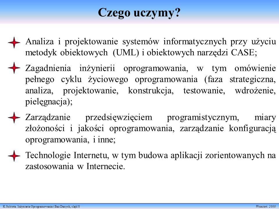 K.Subieta.Inżynieria Oprogramowania i Baz Danych, slajd 8 Wrzesień.
