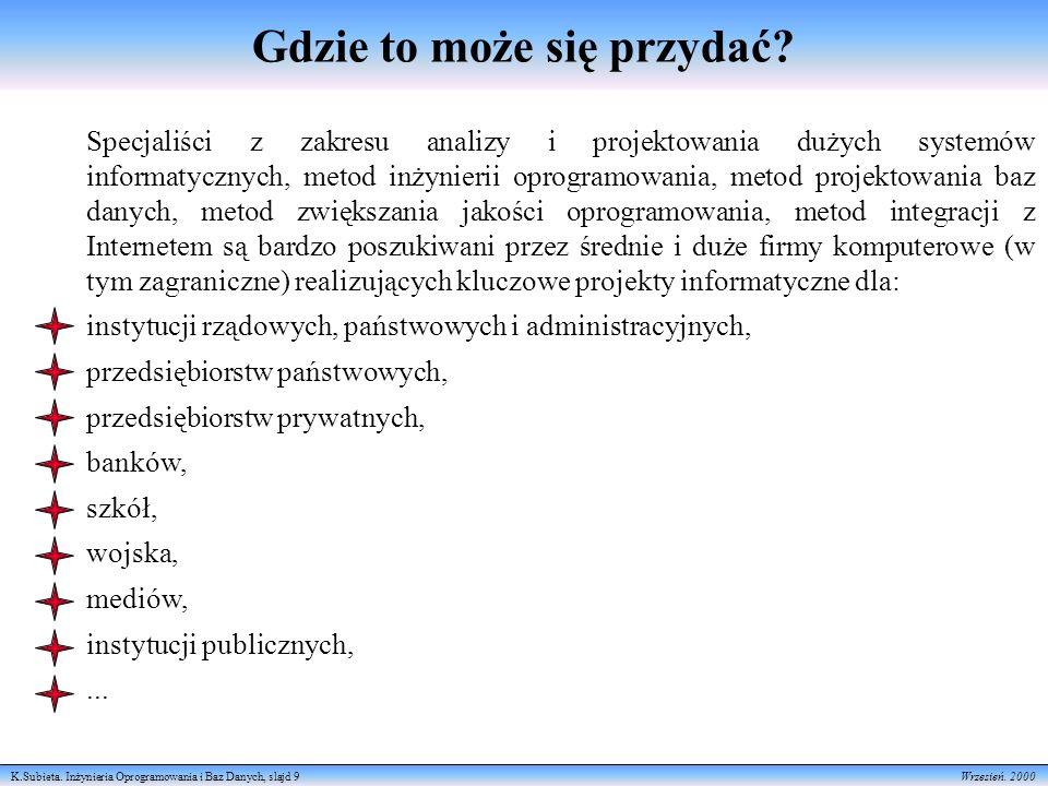 K.Subieta.Inżynieria Oprogramowania i Baz Danych, slajd 9 Wrzesień.