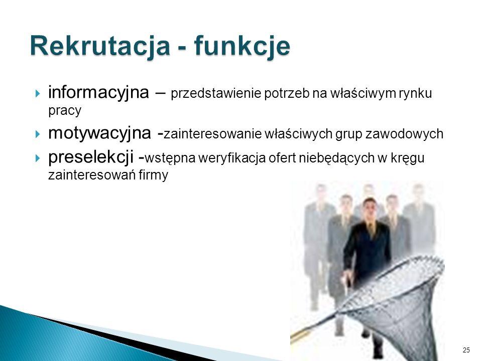  informacyjna – przedstawienie potrzeb na właściwym rynku pracy  motywacyjna - zainteresowanie właściwych grup zawodowych  preselekcji - wstępna we