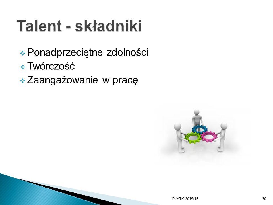  Ponadprzeciętne zdolności  Twórczość  Zaangażowanie w pracę PJATK 2015/1630