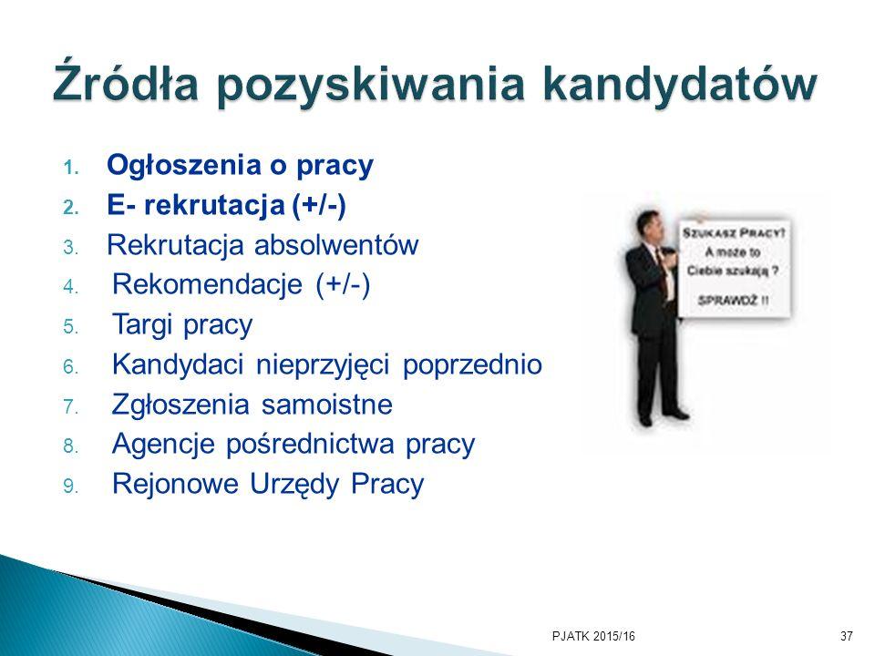 1. Ogłoszenia o pracy 2. E- rekrutacja (+/-) 3. Rekrutacja absolwentów 4. Rekomendacje (+/-) 5. Targi pracy 6. Kandydaci nieprzyjęci poprzednio 7. Zgł