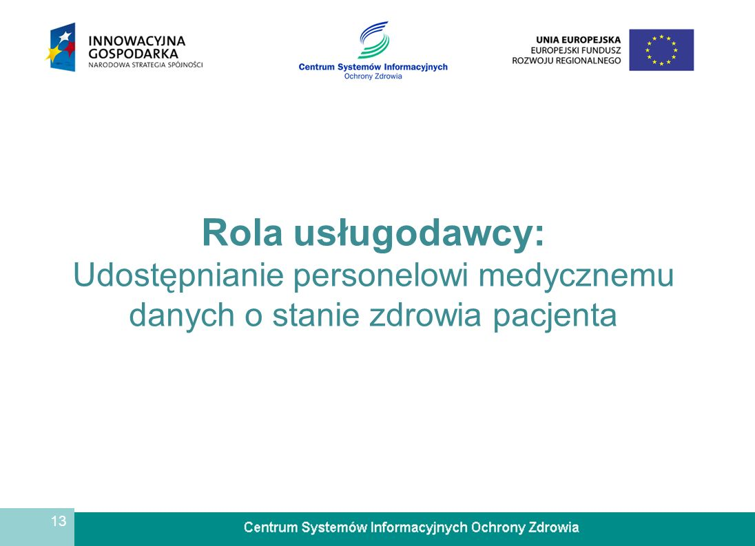 13 Rola usługodawcy: Udostępnianie personelowi medycznemu danych o stanie zdrowia pacjenta