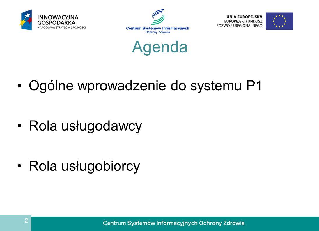 2 Agenda Ogólne wprowadzenie do systemu P1 Rola usługodawcy Rola usługobiorcy