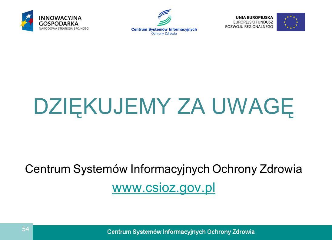 54 DZIĘKUJEMY ZA UWAGĘ Centrum Systemów Informacyjnych Ochrony Zdrowia www.csioz.gov.pl