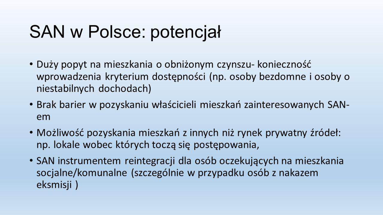 SAN w Polsce: potencjał Duży popyt na mieszkania o obniżonym czynszu- konieczność wprowadzenia kryterium dostępności (np.